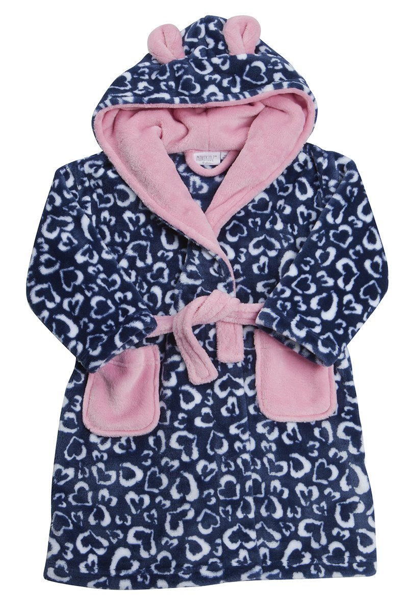 Kidz Girls Supersoft Fleece Heart Print Hooded Dressing Gown