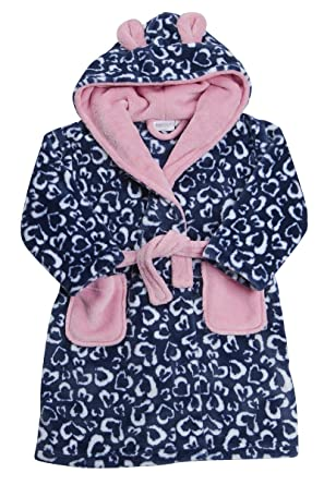 23dadfc7cb Minikidz Childrens Girls Heart Robe Dressing Gown Fleece Leopard Print  Nightwear Hooded: Amazon.co.uk: Clothing