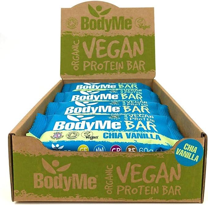 BodyMe Barritas Proteinas Veganas Organica   Cruda Chia Vainilla   60g x 12 Barra Proteina Vegana   Sin Gluten   16g Proteína Completa   3 Proteina ...