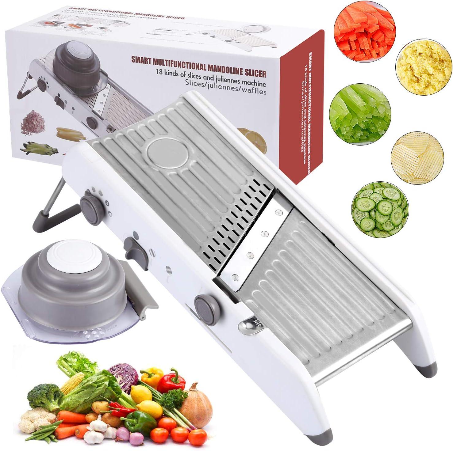 Karidge Mandoline Slicer – Adjustable Thickness Vegetable Mandolin, Fruit Slicer, French Fry Cutter, Food Waffle – Sharp Stainless Steel Blades