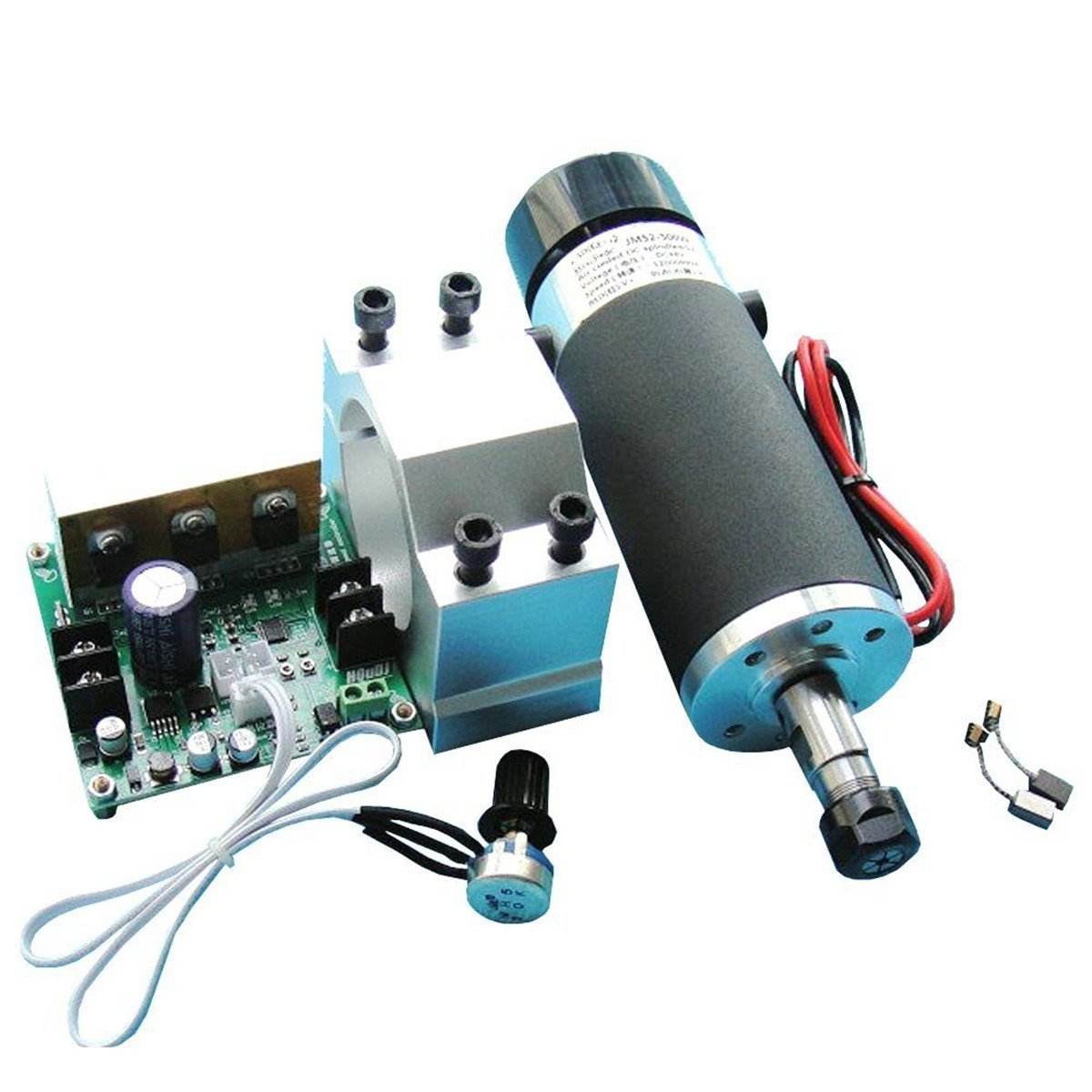 500W DC48V ER11 CNC High Speed Brush Air Cooling Spindle Motor + Mach3 PWM Motor Regulator + Fixed Seat for DIY Engraving