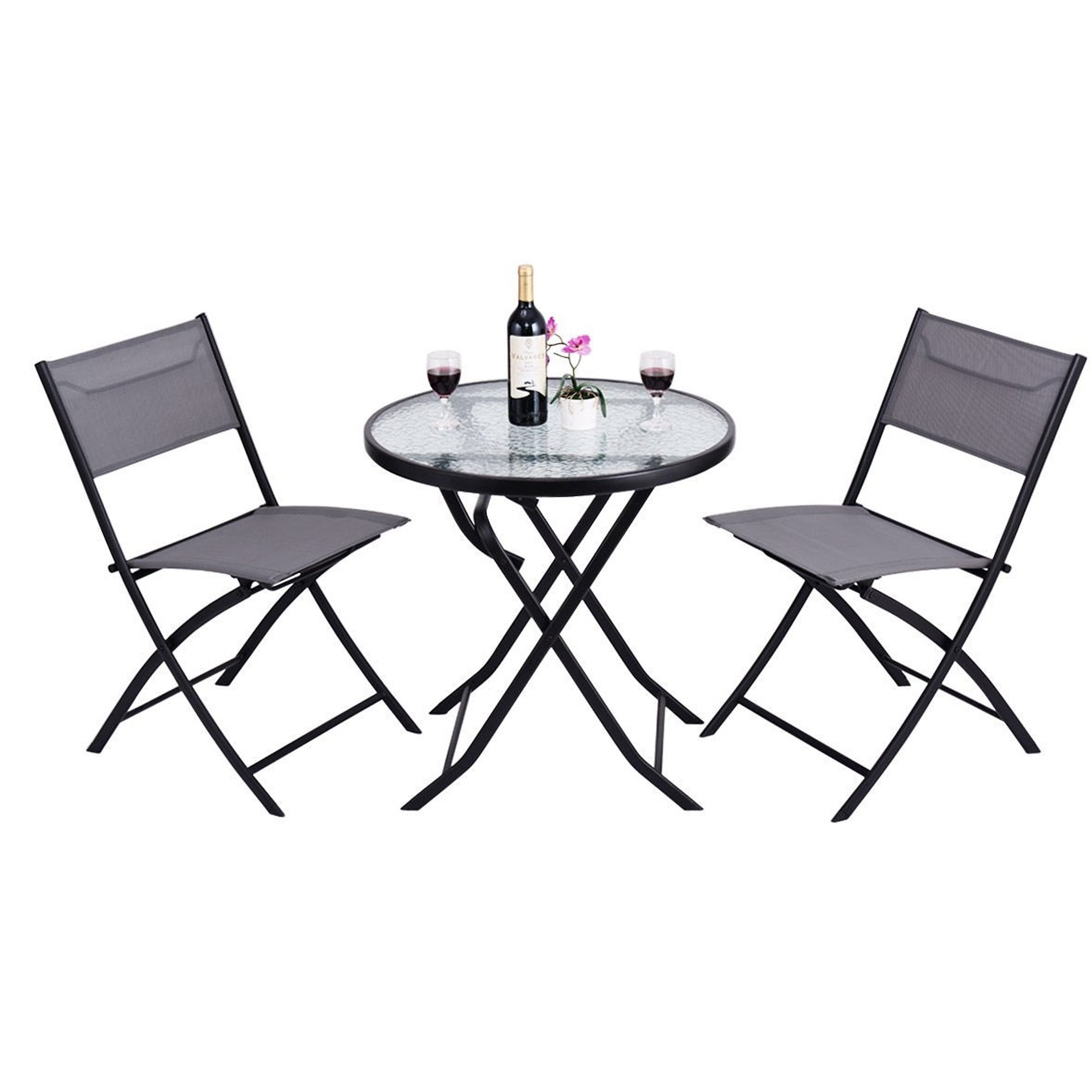 Outdoor Patio Furniture Bistro Set - 3 Pieces Outside Foldable Portable Conversation Sets W/ 2 Chairs & Table - Modern Seating Design Perfect For A Cafe Pub Garden Front Porch Yard Lawn Balcony