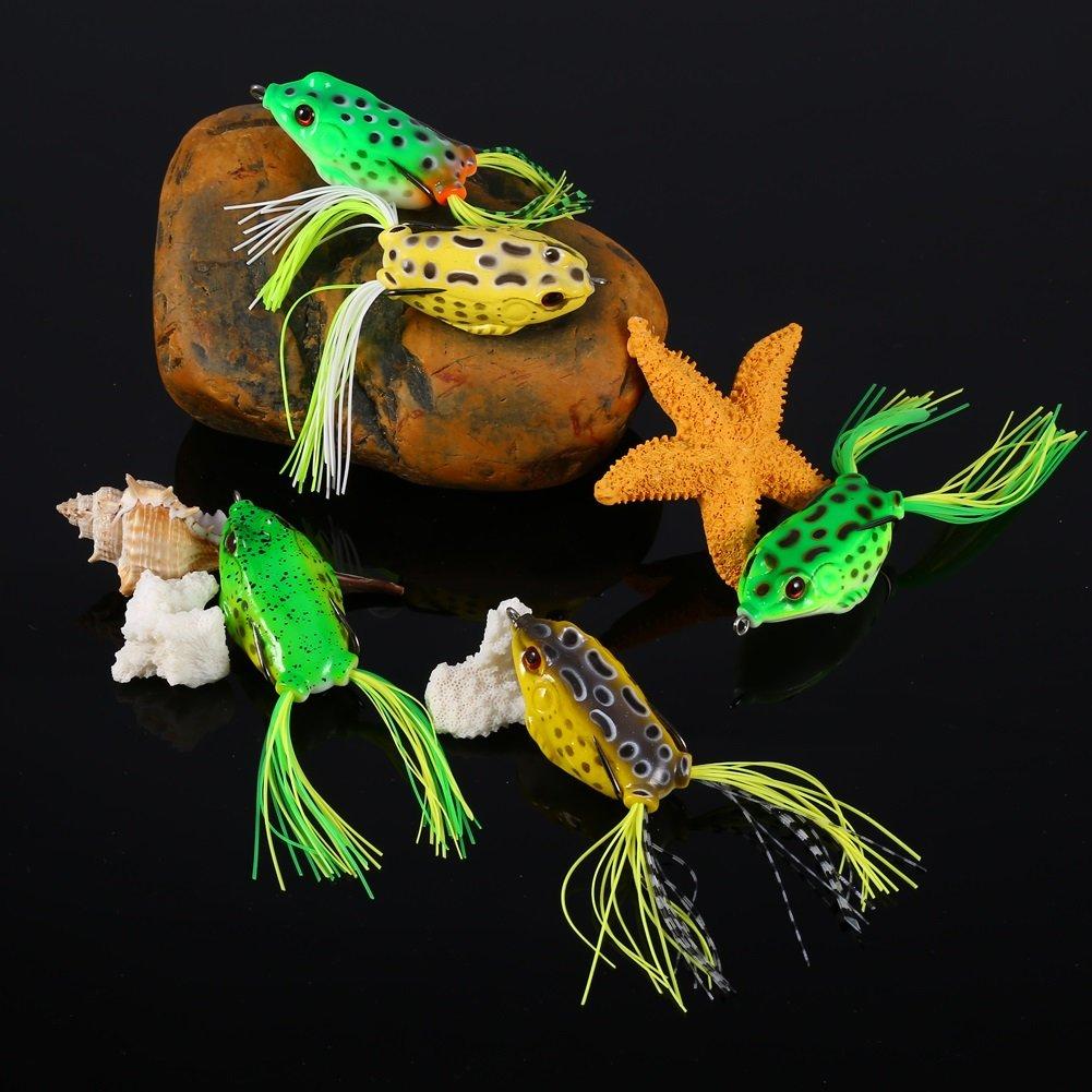 5pcs suave rana se/ñuelo de pesca gancho Set Topwater Tackle cebo de pesca con caja