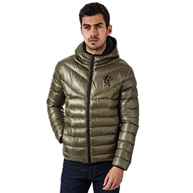 38b3db6dc1bc50 Gym King Mens Mens Reign Hooded Puffa Jacket in Olive - XL  Gym King   Amazon.co.uk  Clothing