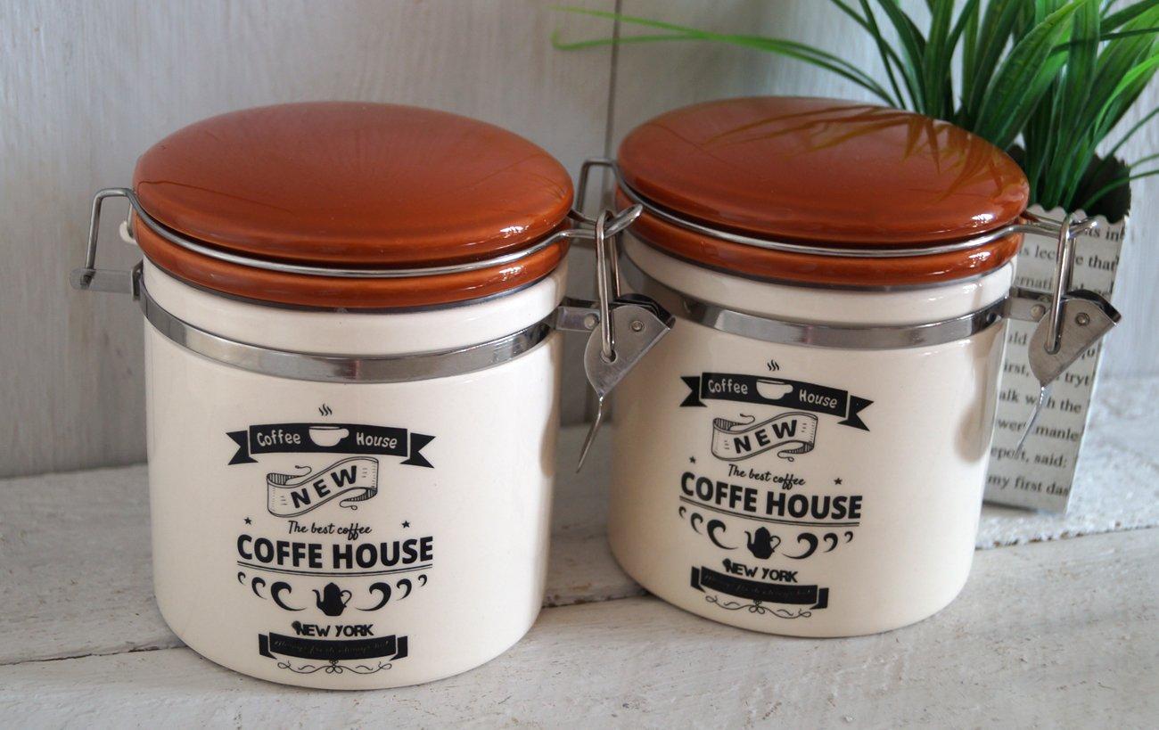 2 x Vorratsdose mit Bügelverschluss Dose Küche Deko Keramik ...