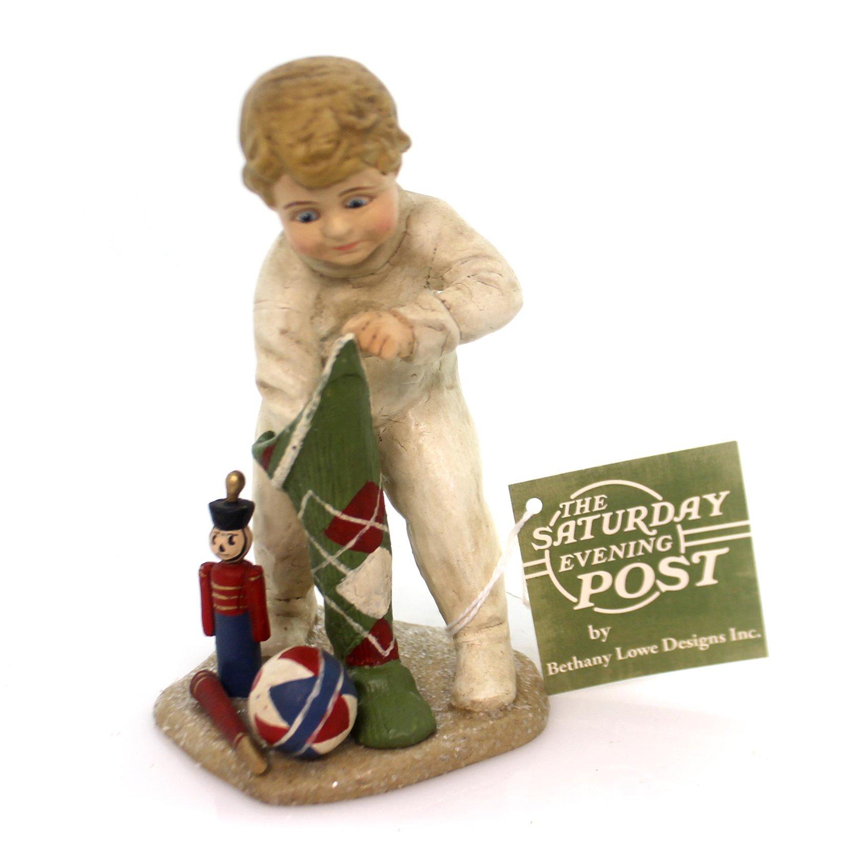 Christmas STOCKING SURPRISE BOY Polyresin Saturday Evening Post Cp5908