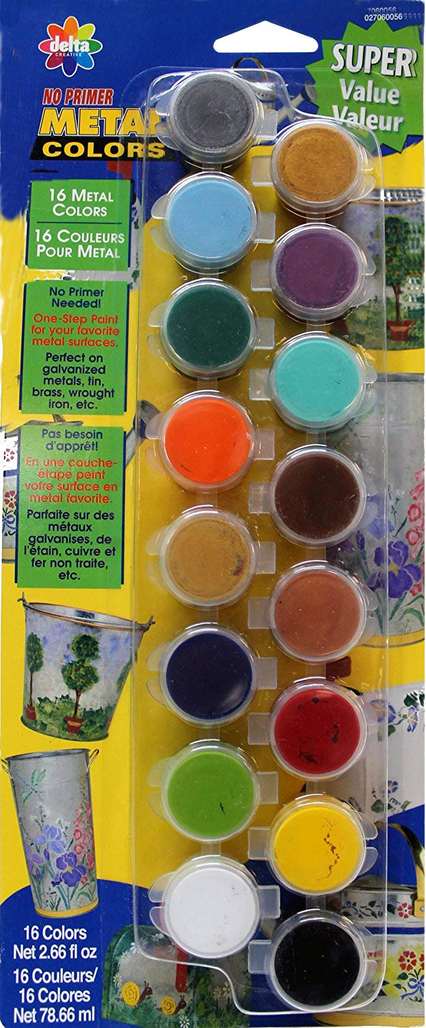 Delta Creative Paint Pots Set With 16 Metal Colors And Brush 027060056