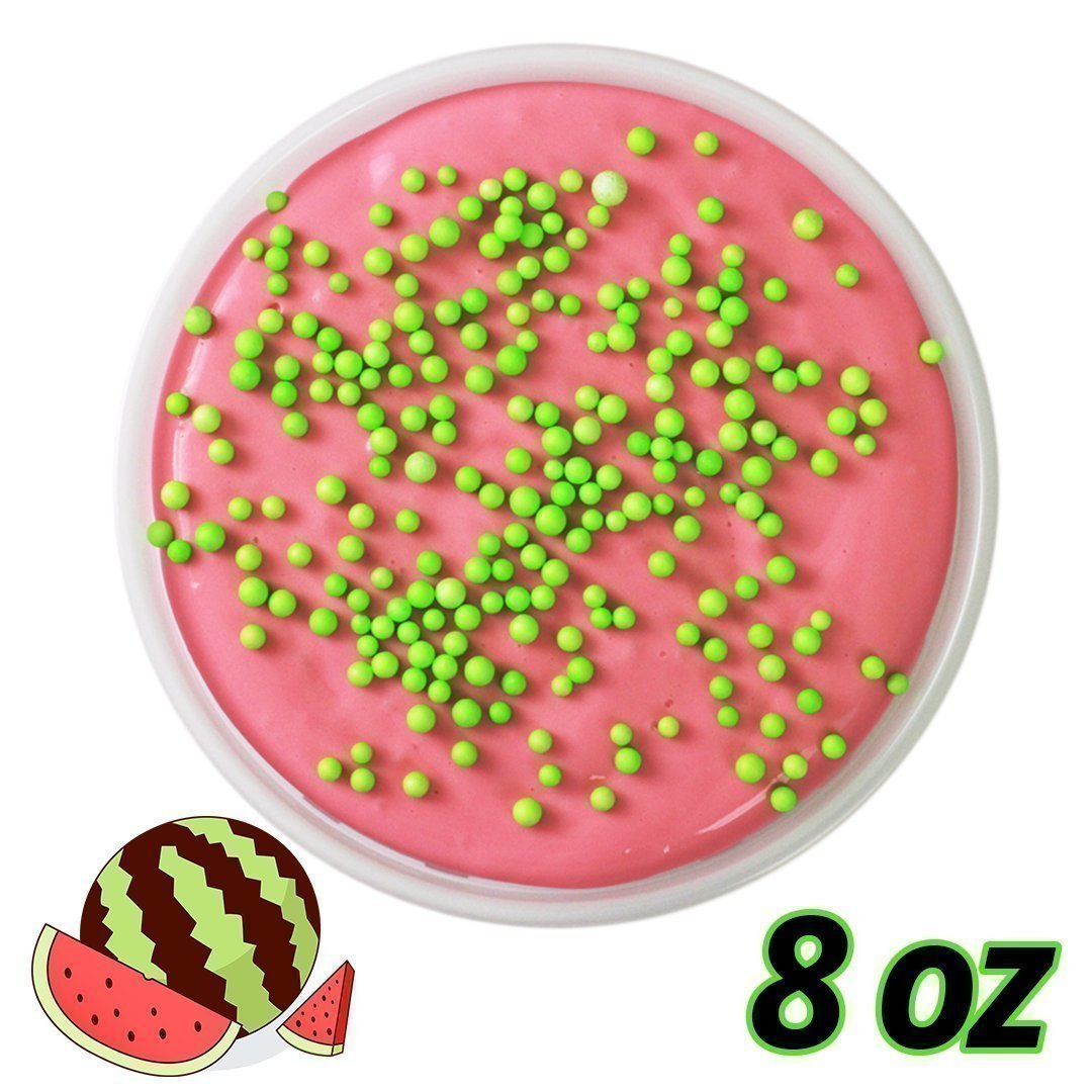 Wild Watermelon Slime - 8 oz - Scented Butter Slime with Foam Beads - Handmade Gifts
