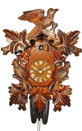 Alemán Reloj de cuco - mecanismo con cuerda para 8 días - tallado en madera - 48 cm - Auténtico reloj de cuco del bosque negro - de August Schwer: ...