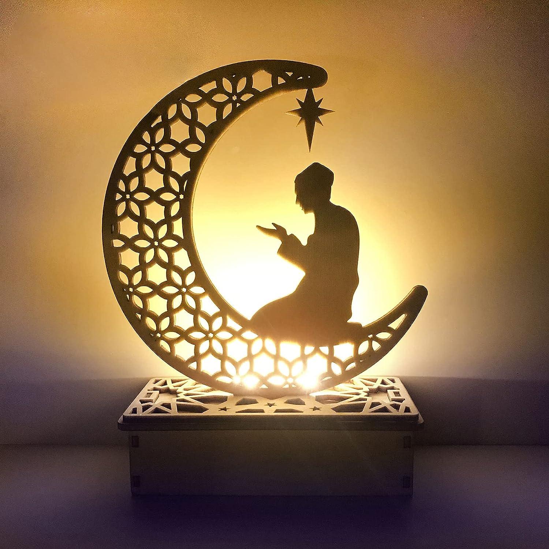 Eid Crafts Night Light, Handmade 3D Wooden Moon Star LED Lights Decor, Ramadan Mubarak Lamp Decorations, Home Party Bedroom Eid Ornaments Gift for Muslims, Ramadan Gift, Islamic Wall Table Decor(C)
