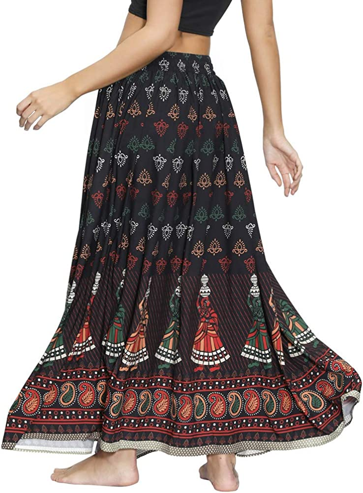 Nuofengkudu Donna Lunghe Gonne Maxi Vita Alta Oversize Africane Etnica Stampa Vintage Gitana Boho Skirts Elastico in Vita Mare Spiaggia Danza