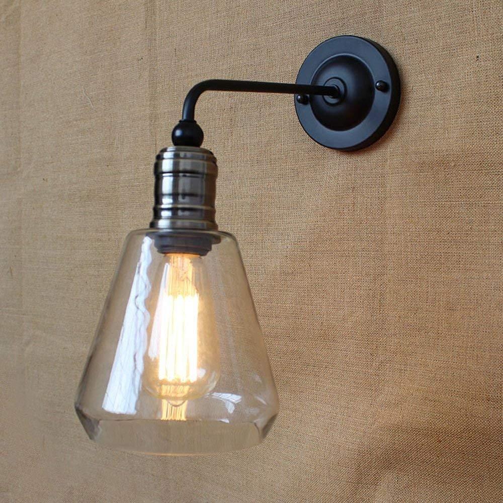 Vintage Glas Wandleuchte rustikale Land Metall Wandlampen Bar Schlafzimmer Badezimmer Treppe Spiegel Lampen Wandleuchten Loft Küche E27 [Energieklasse A++] NOCHX