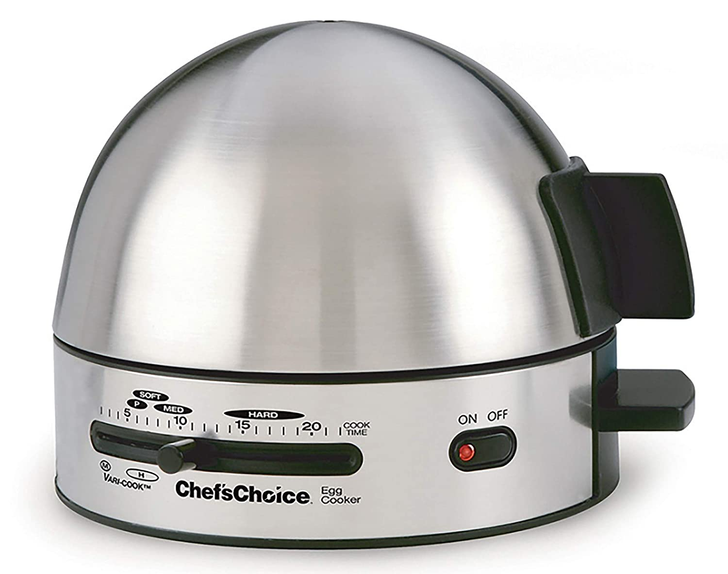 Chef sChoice 810 Gourmet Egg Cooker with 7 Egg Capacity Makes Soft Medium Hard Boiled and Poached Eggs Features Electronic Timer Audible Ready Signal Nonstick Stainless Steel Design, 7-Eggs, Silver