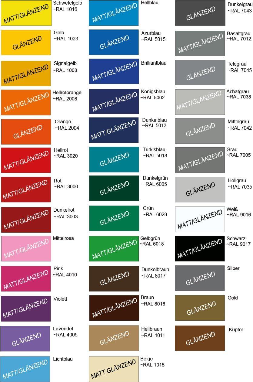 10 m Auto Motorrad Zierstreifen 25 mm breit Made in Germany hellrot gl/änzend ~RAL 3020 von Luminess