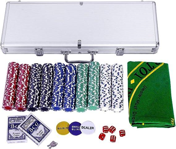 vengaconmigo Juego de Póker con Maletín con 500 Fichas Peso 11,5 G Set de Póquer con 5 Dados y 2 Baraja de Cartas Maletín de Póker de Aluminio: Amazon.es: Juguetes y juegos
