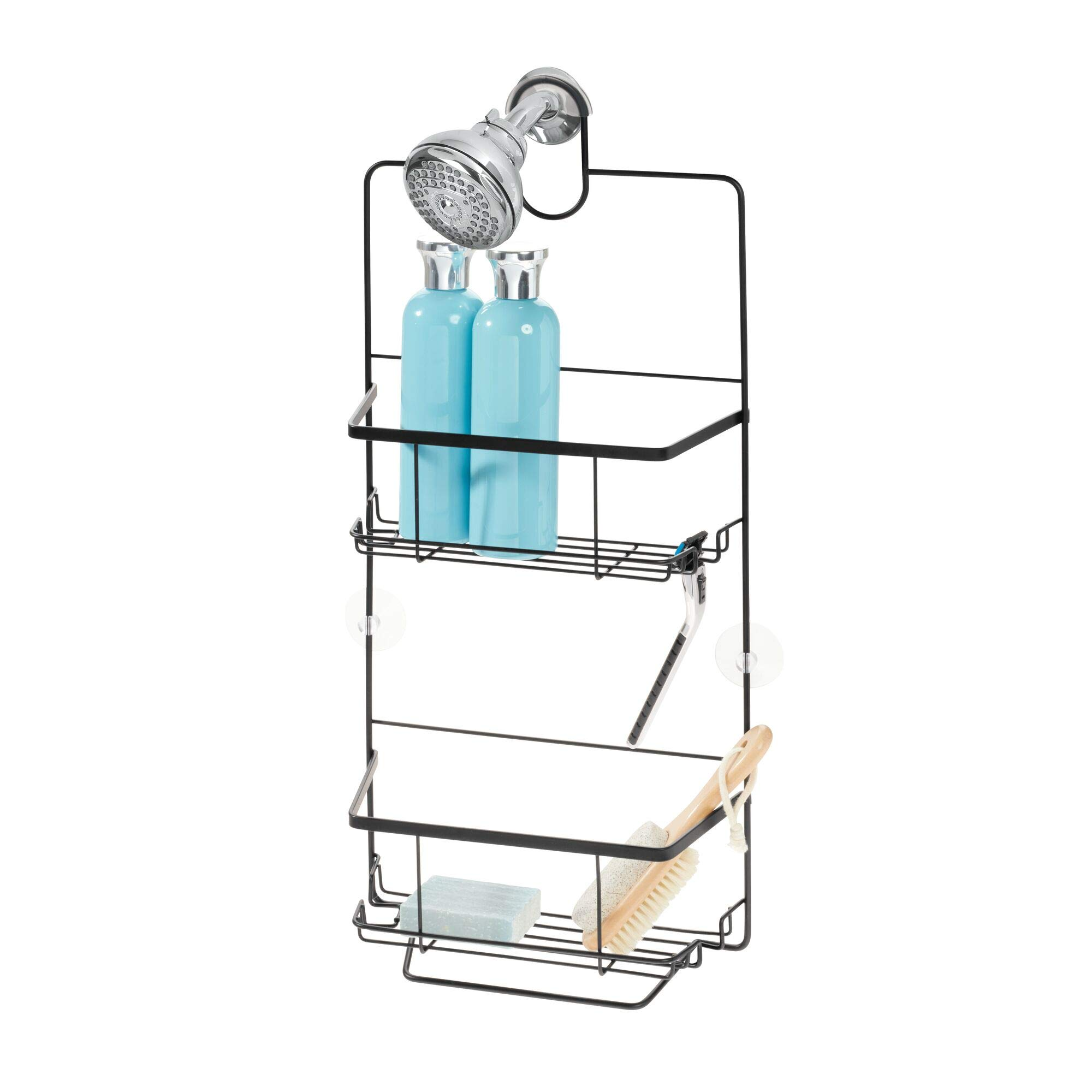 iDesign Everett Metal Hanging Shower Caddy, Extra Space for Shampoo, Conditioner, and Soap with Hooks for Razors, Towels, Loofahs, and More, 10.1'' x 3.88'' x 23'', Matte Black by iDesign