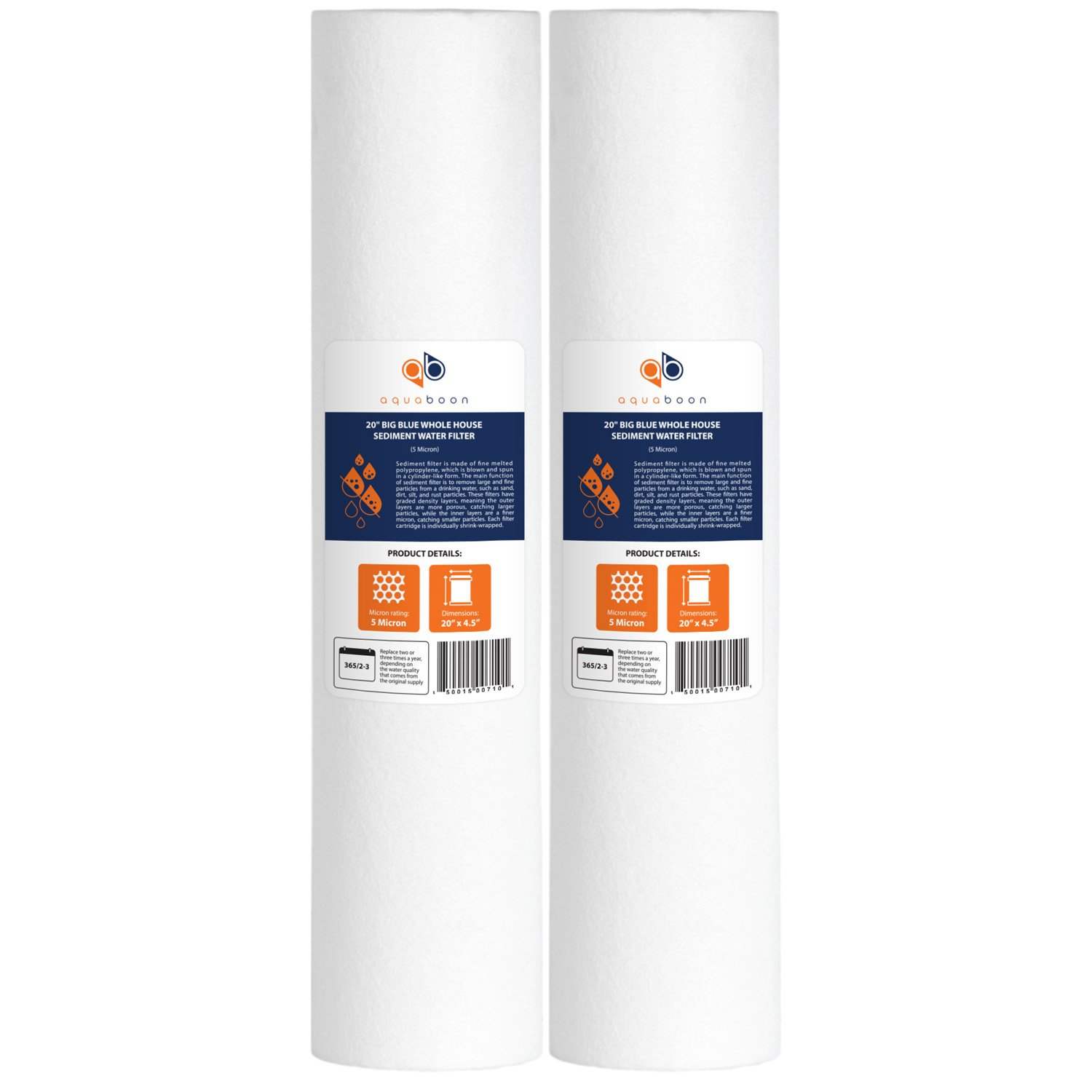 "Aquaboon 5 Micron 20"" Big Blue Sediment Water Filter Replacement Cartridge 
