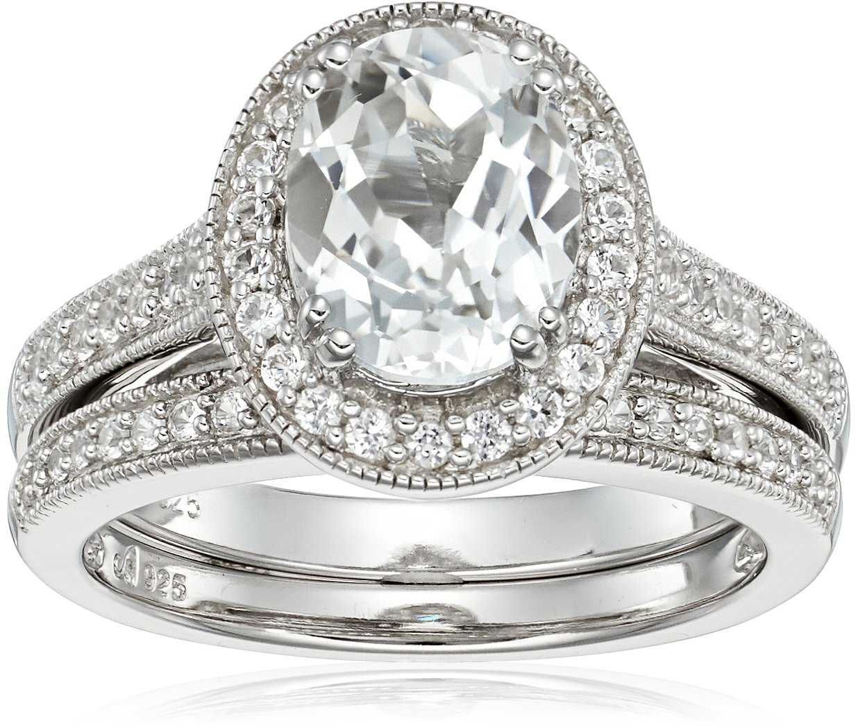 Sterling Silver Oval Lab Created White Sapphire and Matching Band Ring, Size 6