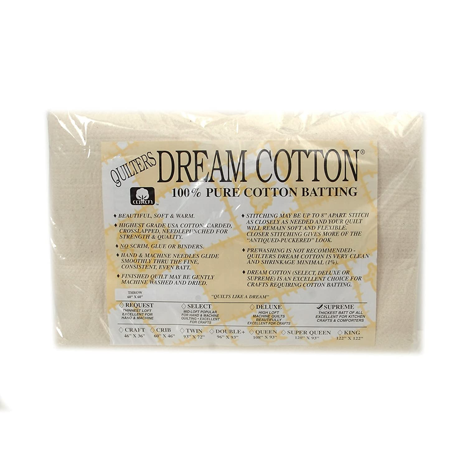 Com Quilters Dream Natural Cotton Supreme Batting X 60in Throw 60