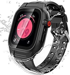 Waterproof Case for 42mm Apple Watch Series 2 3 with Screen Protector, Full Body Protective 42mm iWatch Bands with Case Anti-Scratch Dust-Proof Apple Watch Case (Clear and Black-42mm)