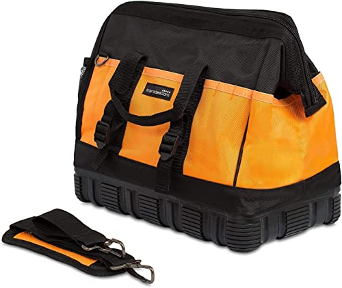 Internet s Best Soft Sided Tool Bag – 16 Inch – 18 Pockets – Wide Mouth Ultra-Rigid Base Tool Storage and Organizer Box