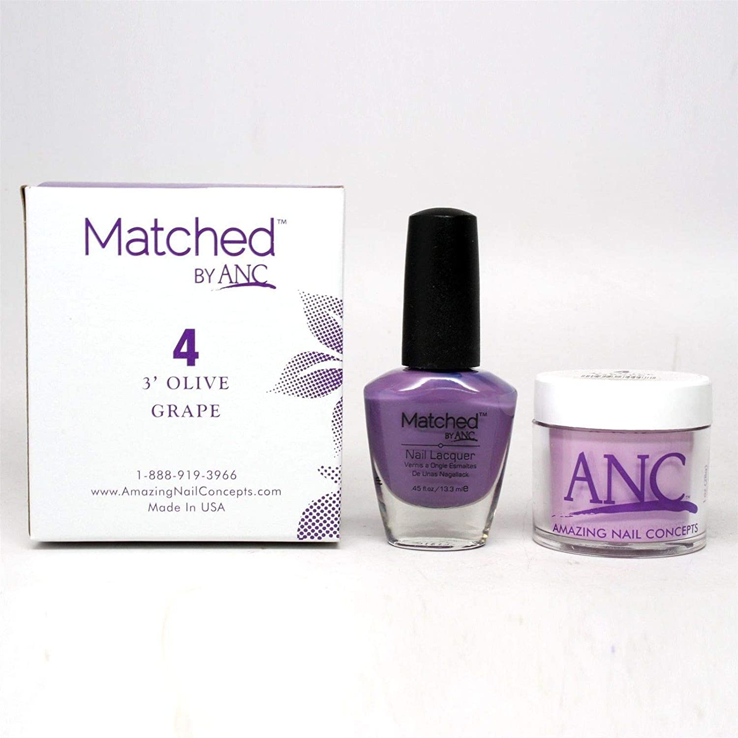 ANC Amazing Nail Concepts Matched kit # 4 3' Olive Grape