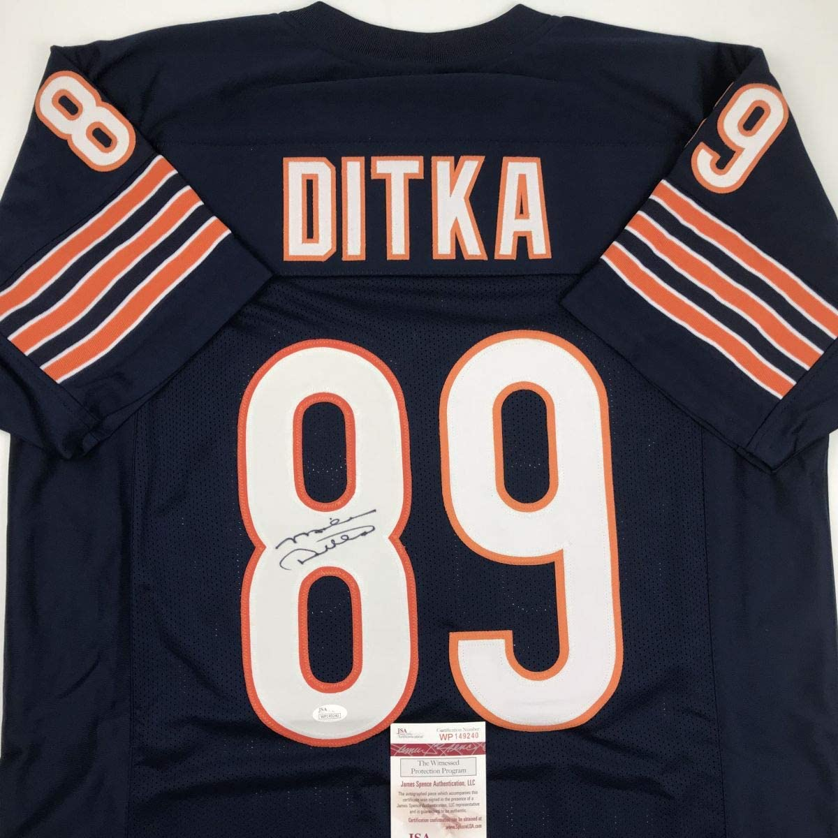 Autographed/Signed Mike Ditka Chicago Blue Football Jersey JSA COA ...