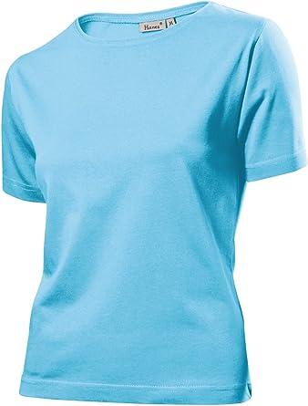 Hanes - Camiseta - Manga corta - para mujer azul azul cielo small: Amazon.es: Ropa y accesorios