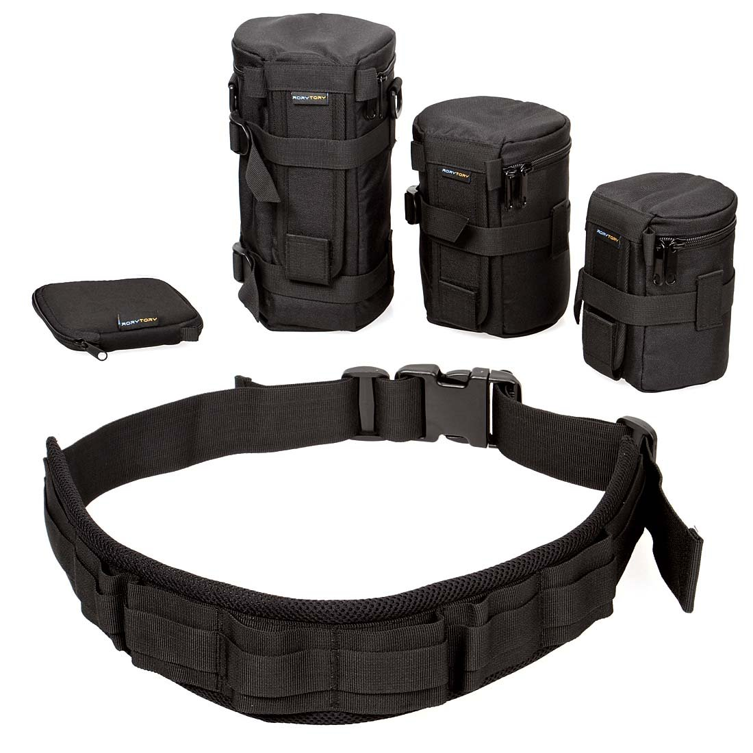 RoryTory 5pc Camera Organizer Case Bag Lens Organizer & Protector SD Storage Photo Belt System, for Travel & Backpacking, Convenient & Complete Camera Belt for Casual or Formal Photography Events by RoryTory