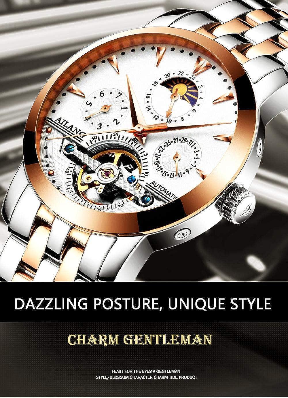 Montres Bracelet,Montre Mécanique À Tourbillon Automatique Rose Gold White Surface Steel Belt