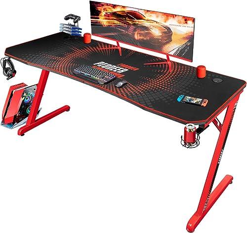 Jummico Gaming Desk 63 inch Computer Desk Z Shaped PC Table Office Gamer Desk