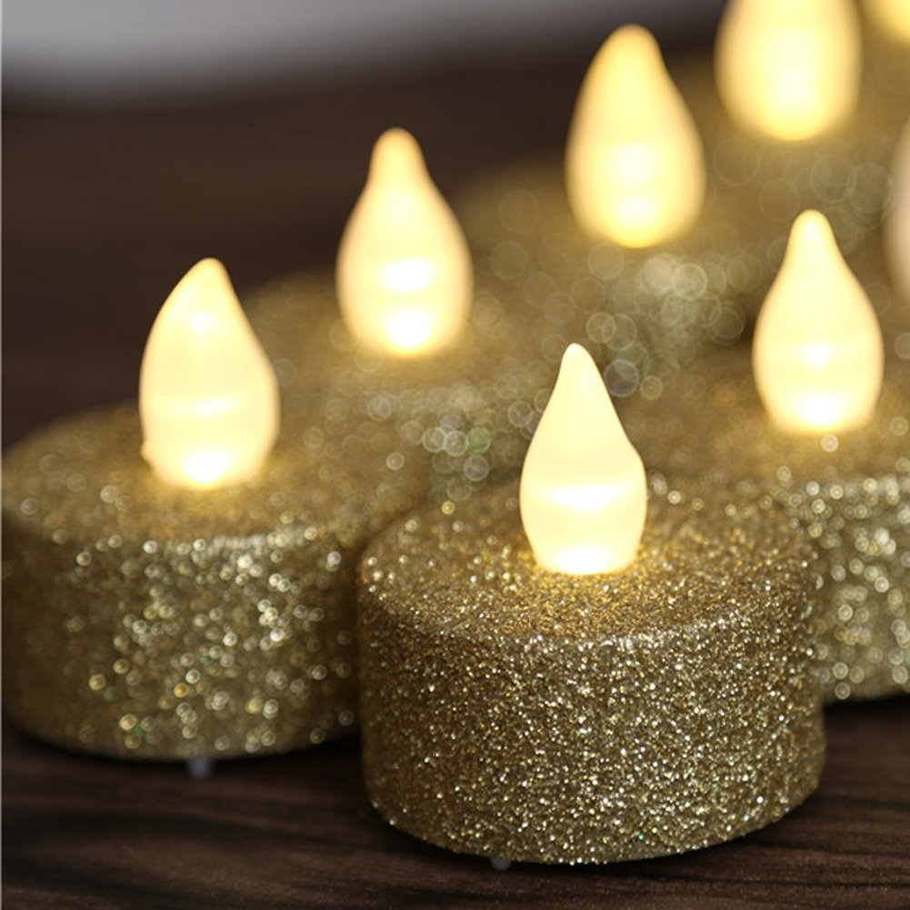 24pcs Gold Glitter Votive Tealight Led Flameless Candles Powered By Battery Lighting - Wedding Christmas Centerpieces Decoration