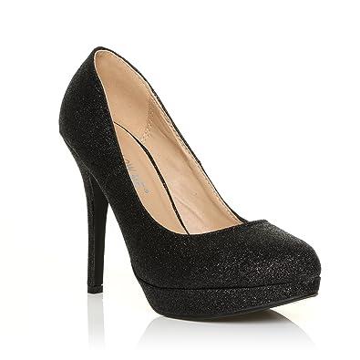 EVE Black Glitter Stiletto High Heel Platform Court Shoes: Amazon.co.uk:  Shoes & Bags