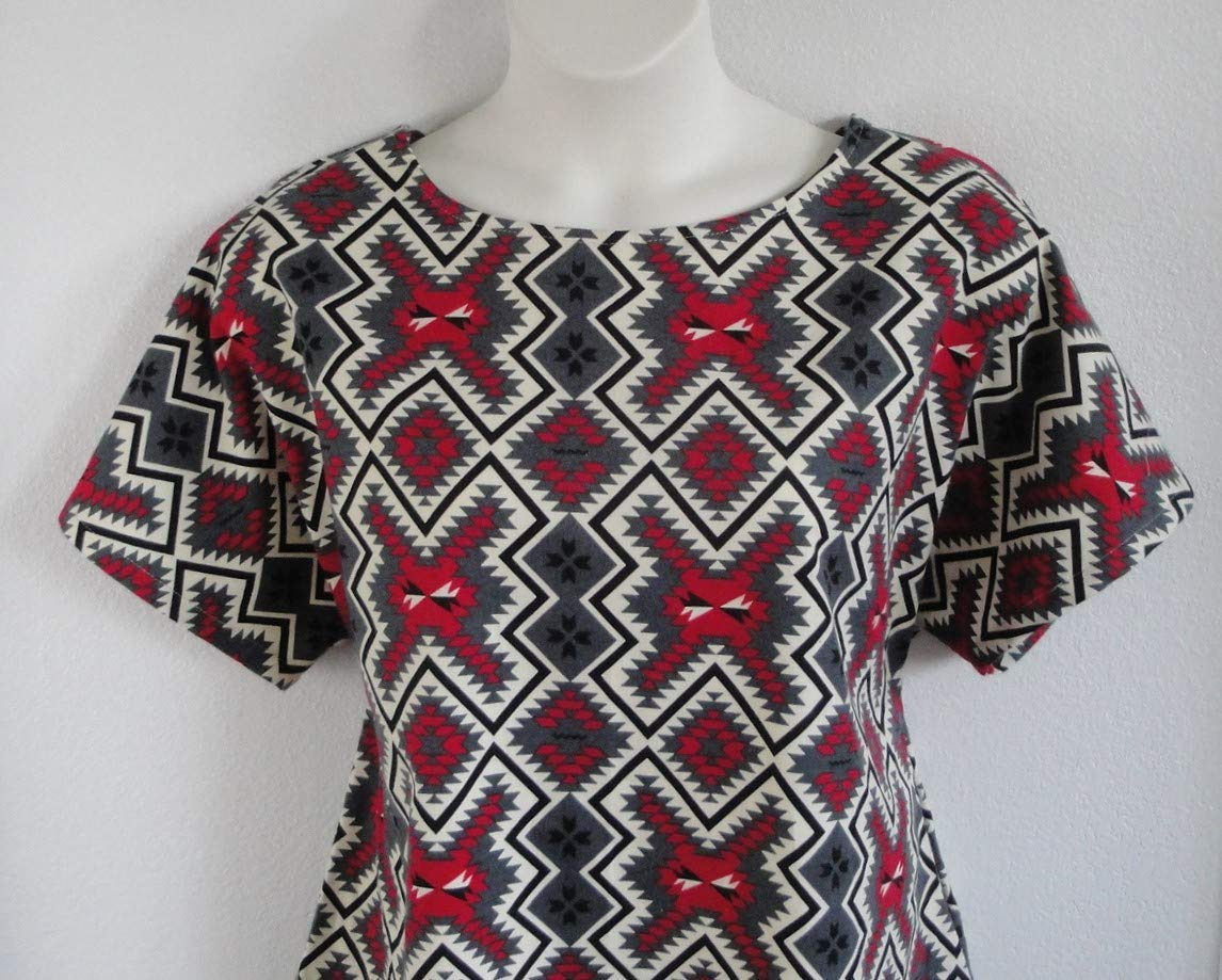 Heart//Adaptive Clothing//Hospice//Breastfeeding Shoulder Shirts Post Surgery FLANNEL Shirt Shoulder Breast Cancer Style Tracie ~ Red//Gray Aztec Print