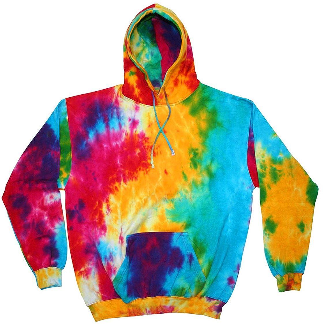Tie Dye Multi Rainbow Retro Groovy Adult Hooded Sweatshirt Hoodie CT-8777-MLTRNBW