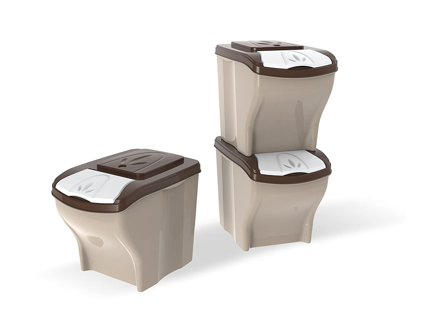 Bama 40295 20 Litre Poker Pet Container, Set of 3, Brown