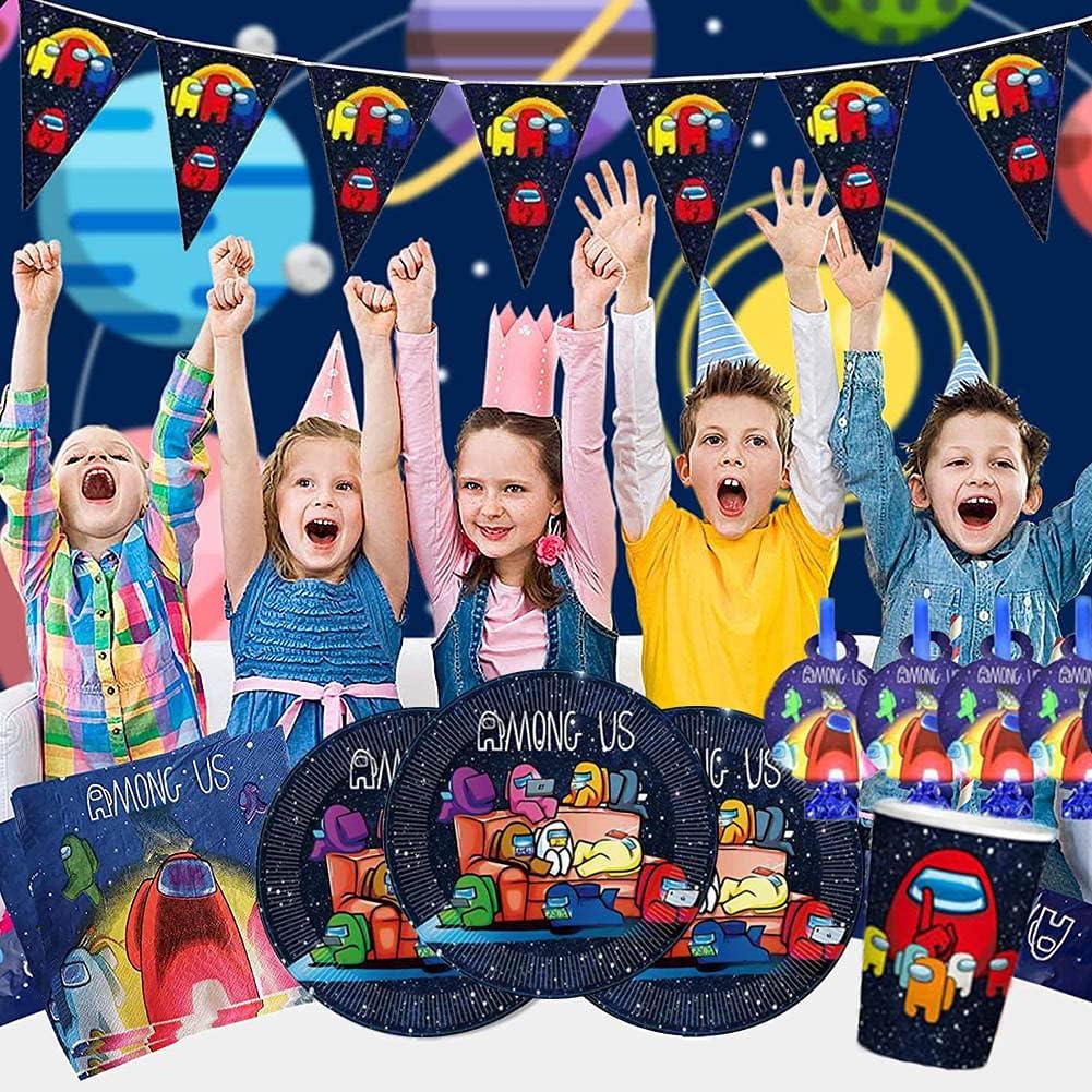 Among us Set di Stoviglie per Feste,84 Pezzi Set di Accessori per Feste di Compleanno per Bambini,Among us Piatti Tazze Tovaglioli Posate Banner Tovaglia Kit di Decorazione Stoviglie di compleanno
