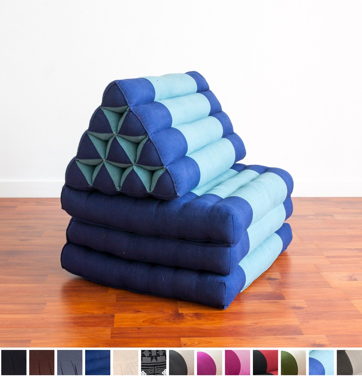 Leewadee Foldout Triangle Thai Cushion, 67x21x3 inches, Kapok Fabric, Blue, Premium Double Stitched by Leewadee