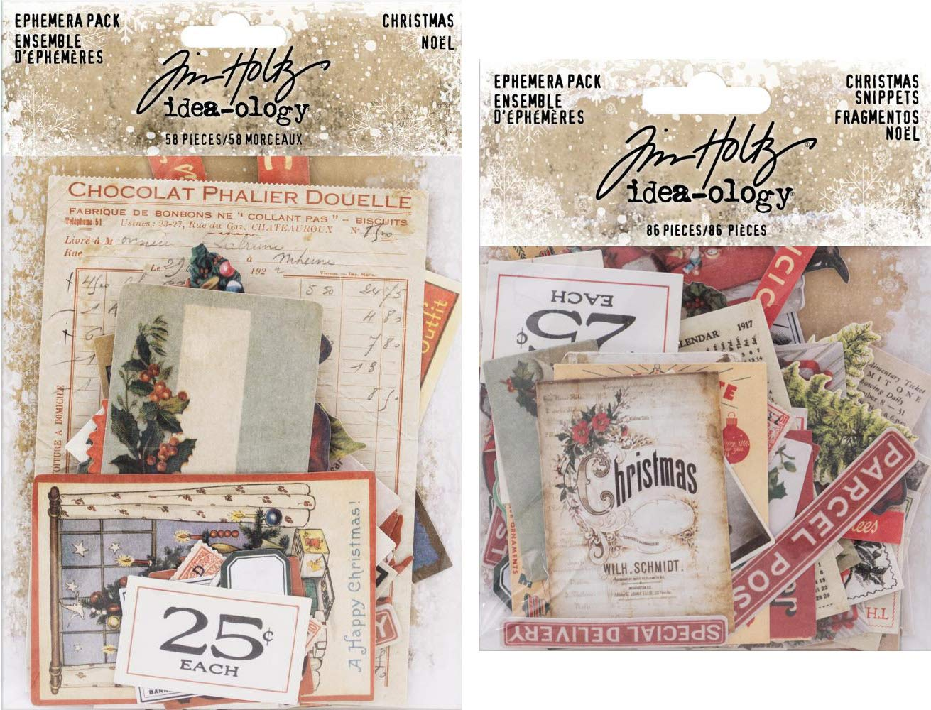 Tim Holtz Idea-Ology 2018 Christmas Ephemera Pack & Christmas Snippets Pack - 2 Items