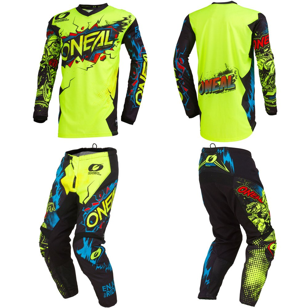 O'Neal Element Villain Neon Yellow Adult motocross MX off-road dirt bike Jersey Pants combo riding gear set (Pants W32/Jersey Large) O' Neal