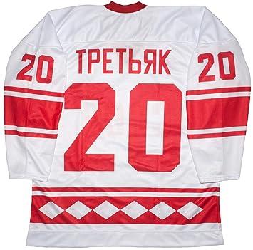 88cf59a9c Amazon.com   Vladislav Tretiak CCCP Russian 1980 White Hockey Jersey    Clothing