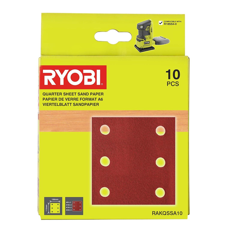 10 Piece Ryobi RAKQSSA10 1//4 Sander Sheet Set