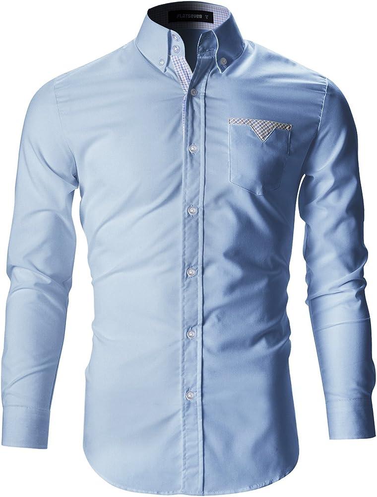 FLATSEVEN Camisas De Vestir Slim Fit Forrada De Tela Escocesa Hombre (SH112) Celeste, S: Amazon.es: Ropa y accesorios