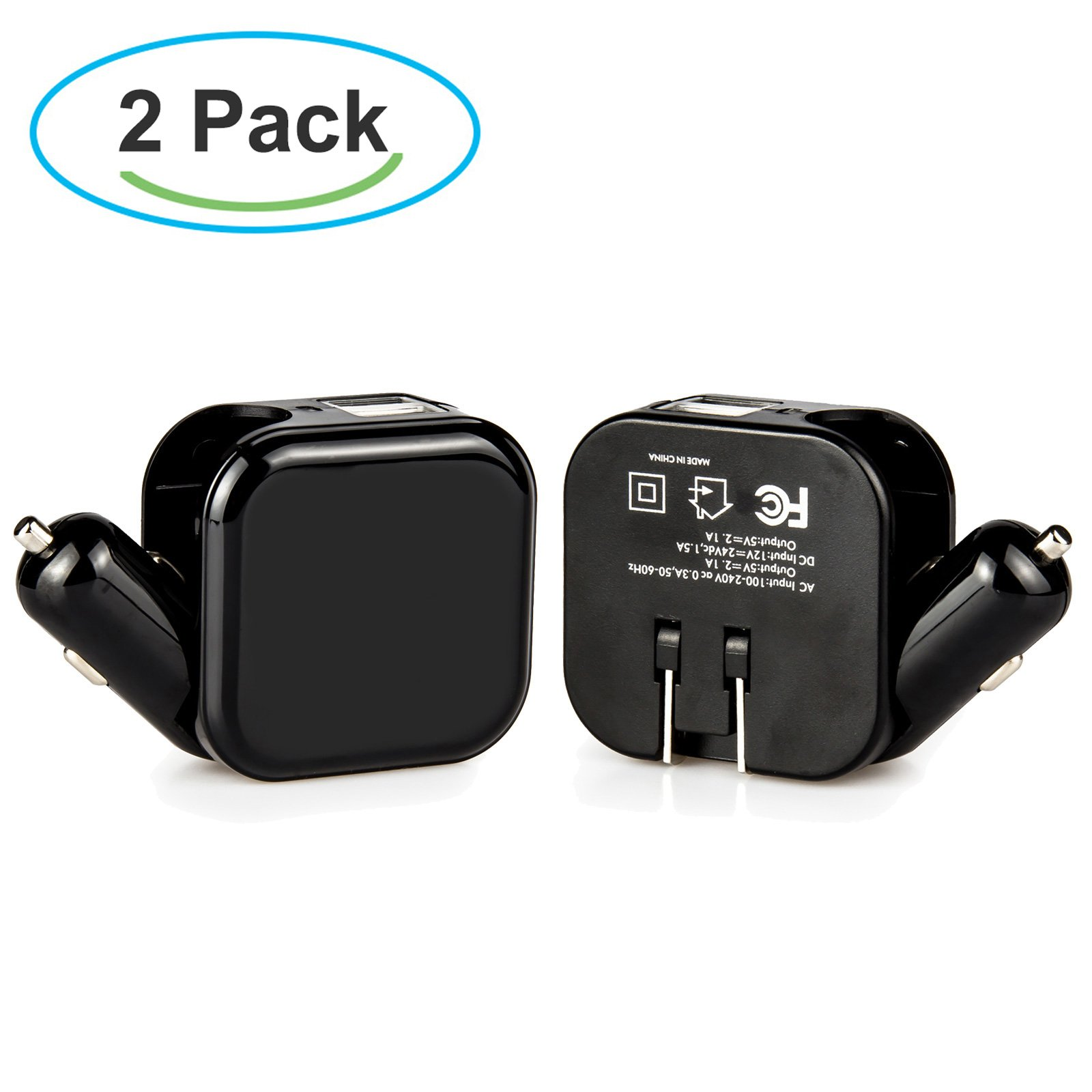Wall Charger, Car Charger, Travel Charger, Dteck [2 Pack] 2-in-1 Dual Port USB Car Charger Wall Charger with 2.1A Fast Charge for Kindle, iPhone/ iPod, Samsung Galaxy, Google Nexus etc., Black + Black