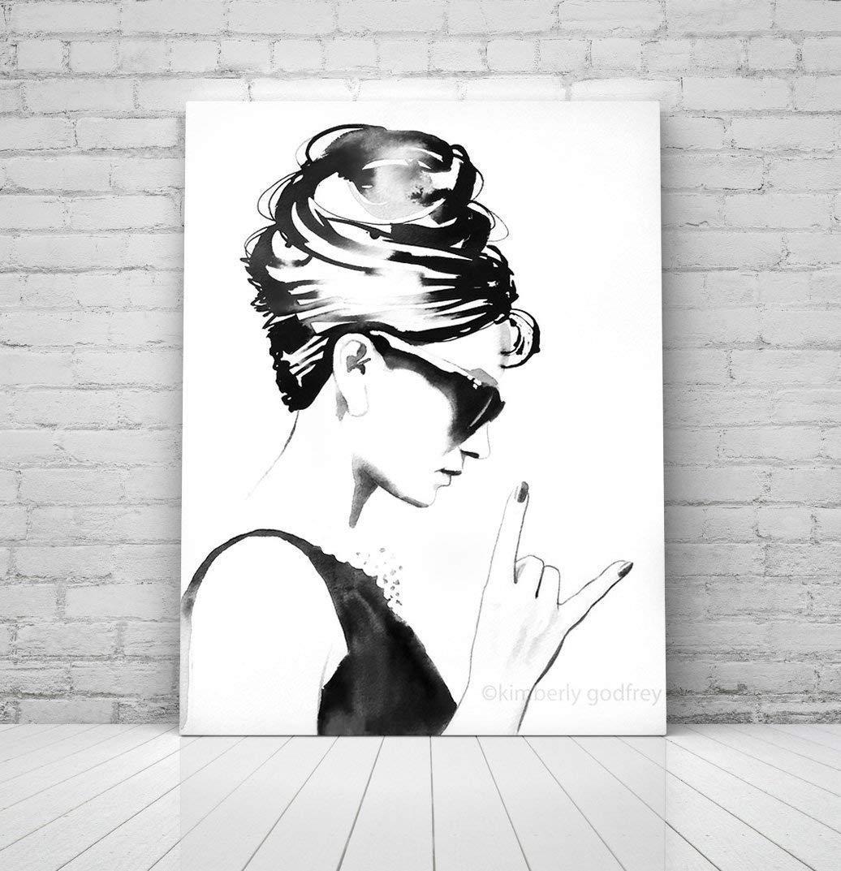 B&W Audrey Rocks Wall Decor Audrey Hepburn Unique Contemporary Art For Salon - Nail, Beauty & Hair Salon Decor