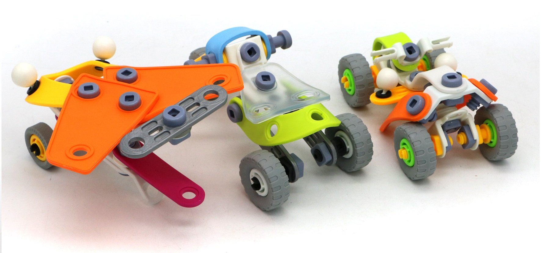 3 Designs in One Package from Verzabo with 163 Pieces Allows Kids to Pick And Choose What They Build Between a Helicopter Glider, Dune Buggy and 3 Wheel Motorcycle