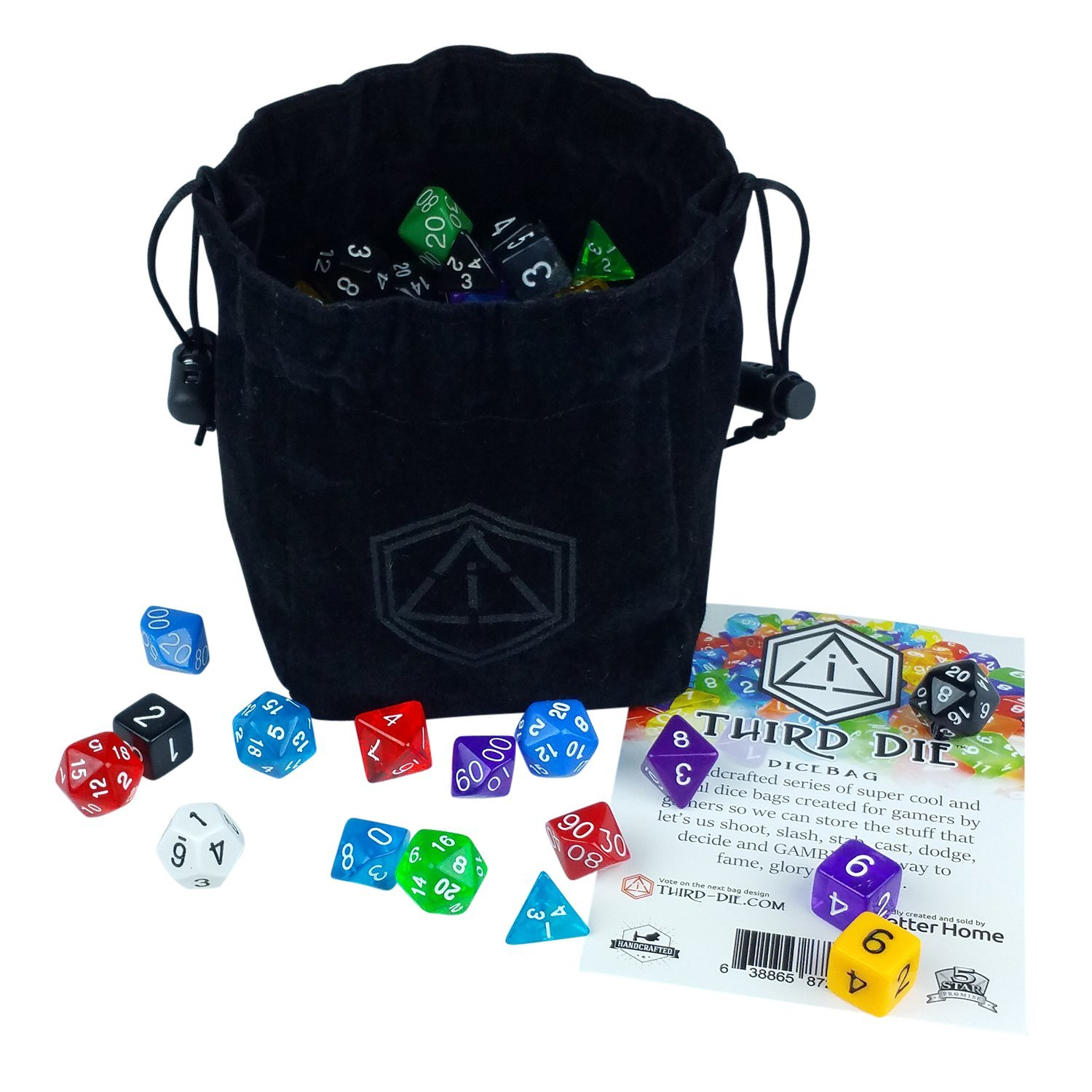 Third Die Dice Bag - Handcrafted, Reversible Drawstring Bag. Stands Open On The Table, Locks Closed Tight. This is the all-black ''VOID'' bag - 1 of 12 styles we sell here on Amazon.