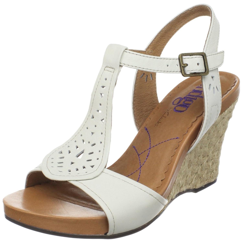 Amazon.com | Clarks Women's Cow Cove T-Strap Sandal, White, 10 M US |  Sandals