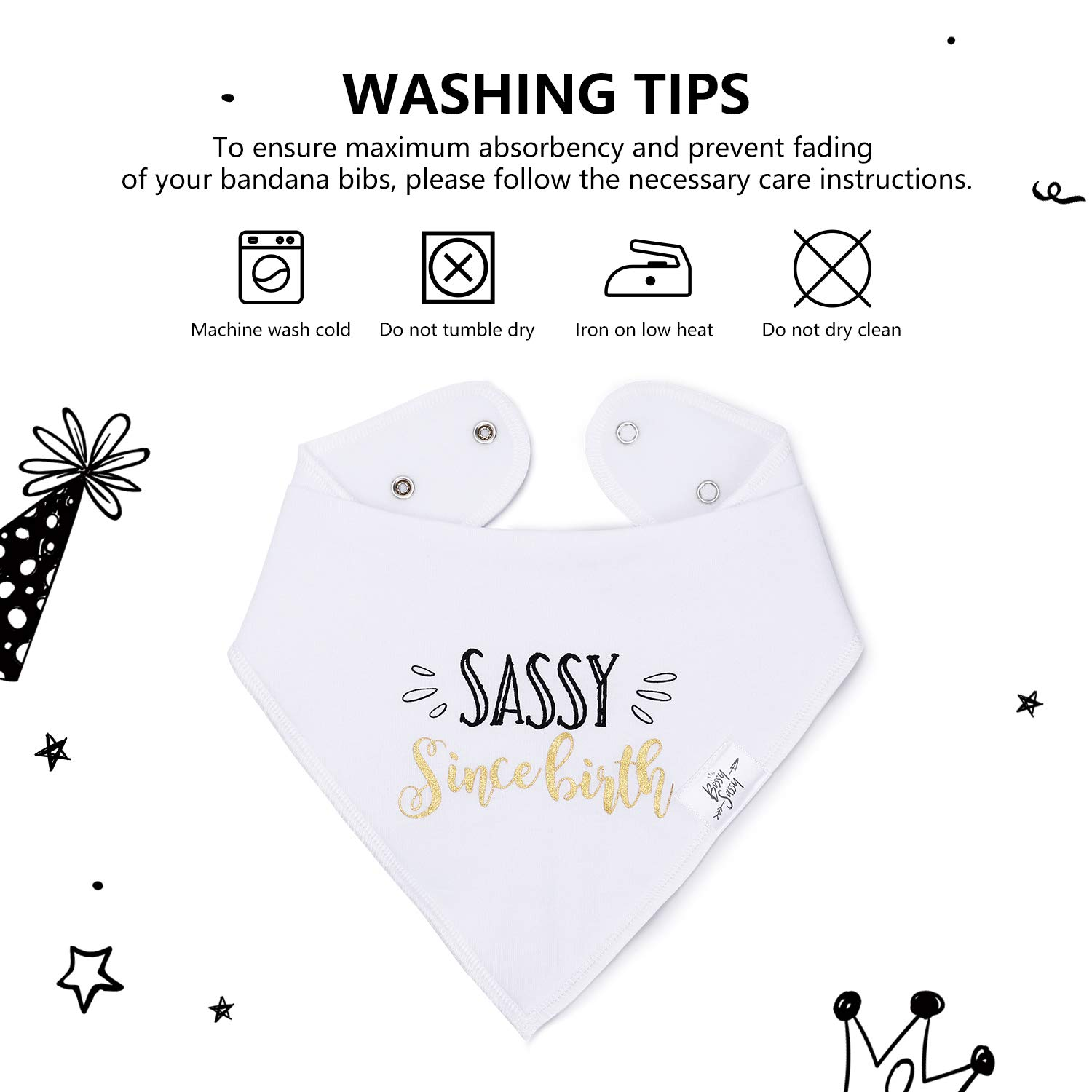 Baby Bandana Drool Bibs 4 Pack for Newborn - Black & White Baby Bibs with Inspiring Quote for Boys Girls Unisex - Best Baby Shower/Registry Gift by Bossy Sassy