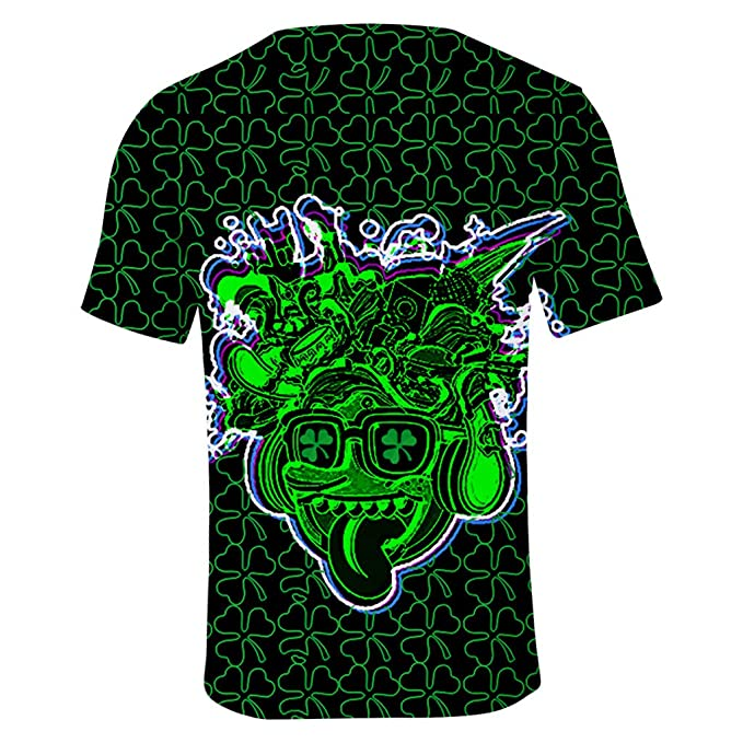 224976fc7255a PRINCER Men Women St. Patrick s Day Digital Print Turtleneck Round Neck  Short Sleeve T-Shirt Party Soft Comfortable Hawaiian Protection Athletic  Sports Tops ...